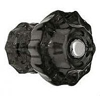 "Black Fluted Glass Knob - 1-1/2"" Diameter - Large"