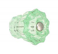 "Depression Green Fluted Glass Knob - 1-1/4"" Diameter - Medium"