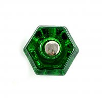 "Forest Green 1-1/4"" Glass Hexagonal Knob, Front Mounted"