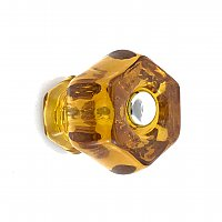 "Amber 1-1/4"" Glass Hexagonal Knob, Front Mounted"