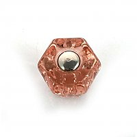 "Depression Pink 1"" Glass Hexagonal Knob, Front Mounted"