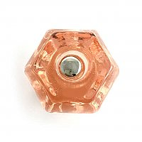 "Depression Pink 1-1/2"" Glass Hexagonal Knob, Front Mounted"