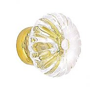 "Clear Glass Fluted Knob, Small 1-3/16"", Brass Base"