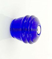 "Cobalt Blue Ribbed Round Glass Knob - 1-1/8"" - Front Mounted"