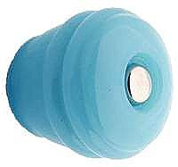 "Milk Blue Ribbed Round Glass Knob - 1-1/8"" - Front Mounted"