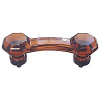 "Amber Glass Old Town Style Cabinet Pull 3"" on Center - Oil Rubbed Bronze"