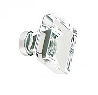 Square Clear Crystal Lido Cabinet Knob, Medium 1-3/8""