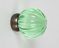 Green Transparent Glass & Oil Rubbed Bronze Melon Knob