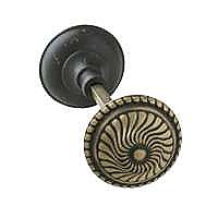 Roanoke Doorknob, Pair, Antique Brass