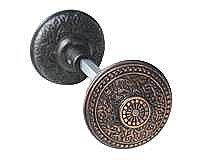 Rice Doorknob, Pair, Antique Copper