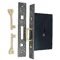 Butterfly Pocket Door Mortise Lock Set for Single Door, Antique Nickel