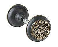 Daisy Doorknob, Pair, Antique Brass