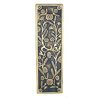 Daisy Pushplate, Antique Brass