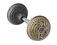 Cottage Garden Doorknob, Pair, Antique Brass