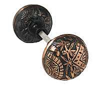 Oriental Doorknob, Pair, Antique Copper