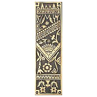 Oriental Pushplate, Antique Brass
