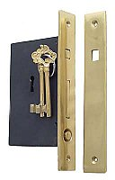 Plain Brass Single Pocket Door Mortise Lock Set
