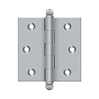 "Solid Brass 2-1/2"" x 2-1/2"" Cabinet Hinge with Ball Tips, Pair"