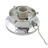 "Chrome-Plated Flush Mount Collar Light Fixture with Pull Chain, 3-1/4"" Fitter"