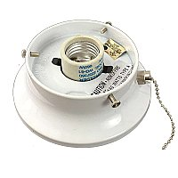 "White Flush Mount Collar Light Fixture with Pull Chain, 3-1/4"" Fitter"