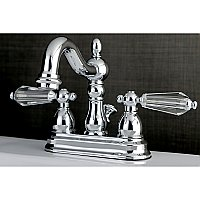Kingston Chrome 4-Inch Centerset Lavatory Faucet - Crystal Lever Handles - Polished Chrome