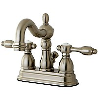 Kingston Brass 4-Inch Centerset Lavatory Faucet - Metal and Porcelain Lever Handles - Brushed Nickel