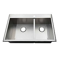 "Gourmetier 32"" Drop-In Double Bowl 18-Gauge Kitchen Sink (1 Hole), Brushed Stainless Steel"
