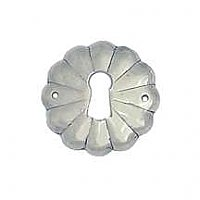 Round Scalloped Keyhole Escutcheon - Polished Nickel