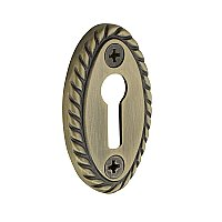 Oval Rope Door Keyhole Cover, Antique Brass