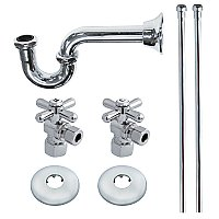 Sink P-Trap Kit - Includes Water Suppy Lines, Escutcheons, Shut-Off Valves - Polished Chrome