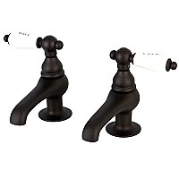 Restoration Basin Sink Faucet Separate Hot & Cold Taps - Porcelain Lever Handles - Oil Rubbed Bronze