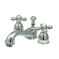 Restoration Mini Widespread Faucet - Metal Cross Handles - Polished Chrome