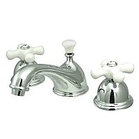 Restoration Widespread Lavatory Sink Faucet - Porcelain Cross Handles - Polished Chrome