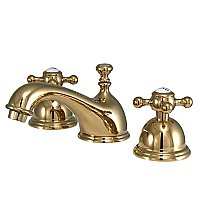 Restoration Widespread Lavatory Faucet - Metal Cross Handles - Polished Brass