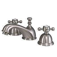 Restoration Widespread Sink Faucet - Metal Cross Handles - Satin Nickel