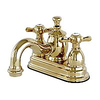 Kingston Brass  4-Inch Centerset Lavatory Faucet Metal Cross Levers Porcelain Cross Levers - Polished Brass