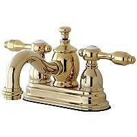 Kingston Brass  4-Inch Centerset Lavatory Faucet Metal Levers - Polished Brass