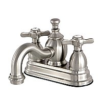 Kingston Brass  4-Inch Centerset Lavatory Faucet Metal Cross Levers Porcelain Cross Levers - Brushed Nickel