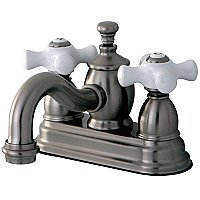 Kingston Brass 4-Inch Centerset Lavatory Faucet Porcelain Cross Levers - Brushed Nickel
