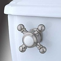 Buckingham Toilet Flush Cross Handle - Satin Nickel