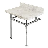"Fauceture Templeton 30"" Wide Carrara Marble Bathroom Console Vanity with Polished Chrome Legs"