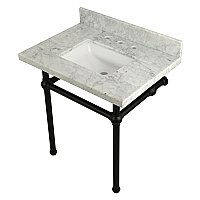 "Kingston Brass 30"" Wide Carrara Marble Vanity with Sink and Matte Black Legs"
