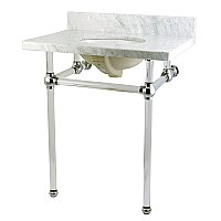 "Fauceture 30"" Templeton Carrara Marble Console Sink - Clear Acrylic & Chrome Legs"