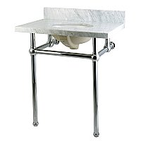 "Fauceture 30"" Templeton Carrara Marble Console Sink - Polished Chrome Legs"