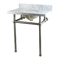 "Fauceture 30"" Templeton Carrara Marble Console Sink - Satin Nickel Legs"
