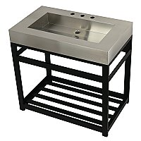 "Fauceture 37"" Stainless Steel Bathroom Sink with Iron Console Sink Base - Brushed/Matte Black"