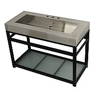 "Fauceture 49"" Stainless Steel Bathroom Sink with Iron Console Sink Base - Brushed/Matte Black"