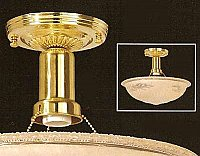 Ceiling Fixture - Beaded 3-Chain Fixture Hardware Set - Polished Brass - NO SHADE