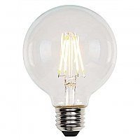 LED Filament Light Bulb: 6.5 Watt (60 Watt Equivalent) Clear Globe Dimmable G25 Type