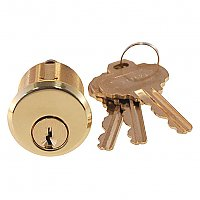 Key Cylinder for Exterior Mortise Lock, Polished Unlacquered Brass